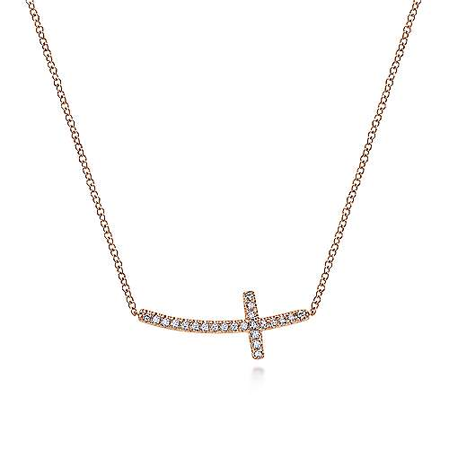 14k Rose Gold Faith Cross Necklace angle 1