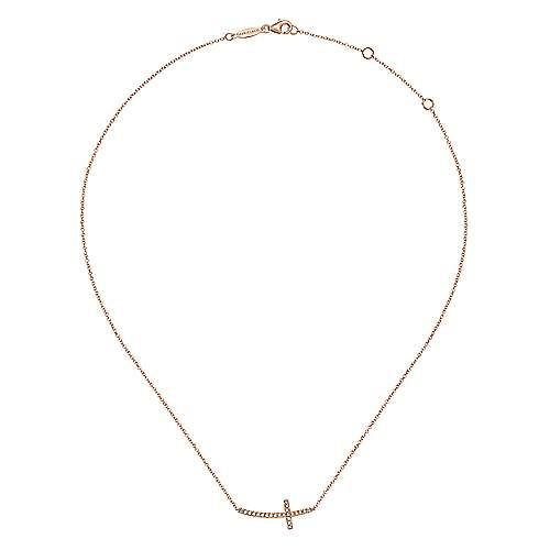 14k Rose Gold Faith Cross Necklace angle 2