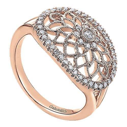 14k Rose Gold Flirtation Fashion Ladies' Ring angle 3