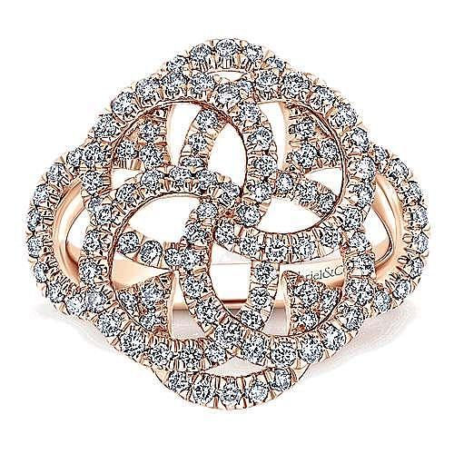 14k Rose Gold Flirtation Fashion Ladies' Ring angle 4