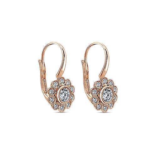 14k Rose Gold Floral Bezel Set Diamond Drop Earrings