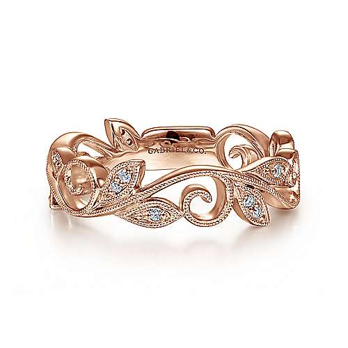 Gabriel - 14k Rose Gold Floral Design Stackable Ladies Ring
