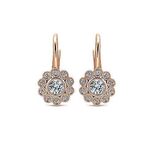 14k Rose Gold Floral Drop Earrings angle 1