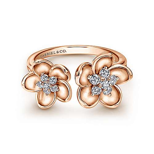 14k Rose Gold Floral Fashion Ladies' Ring angle 1