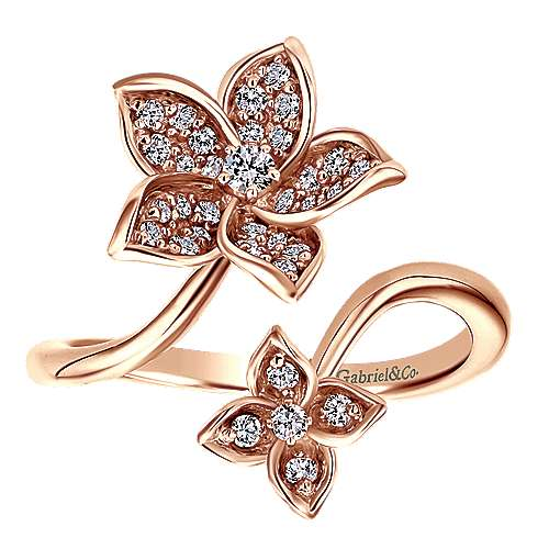 14k Rose Gold Floral Fashion Ladies' Ring angle 5