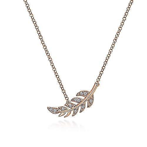 14k Rose Gold Floral Fashion Necklace