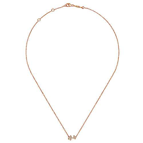 14k Rose Gold Floral Fashion Necklace angle 2