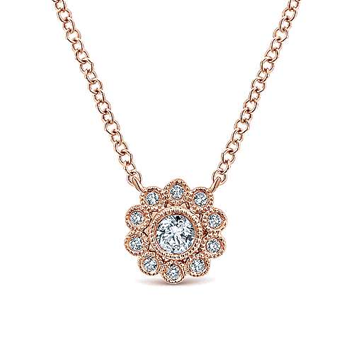Gabriel - 14k Rose Gold Floral Fashion Necklace