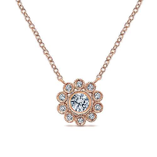 14k Rose Gold Floral Fashion Necklace angle 1