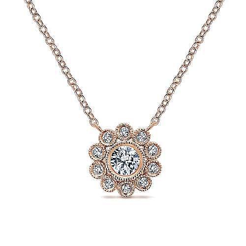 Gabriel - 14k Rose Gold Floral Fashion Necklace