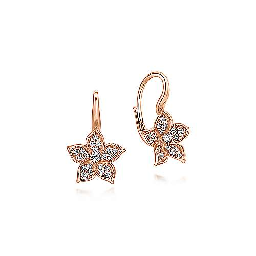 14k Rose Gold Floral Pave Diamond Drop Earrings