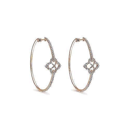 14k Rose Gold Floral Station Diamond Hoop Earrings