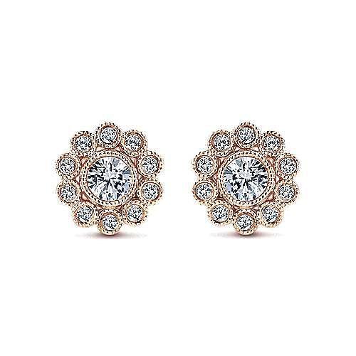 Gabriel - 14k Rose Gold Floral Stud Earrings