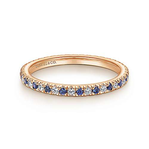 14k Rose Gold French Pavé Set A Quality Sapphire and Diamond Eternity Band