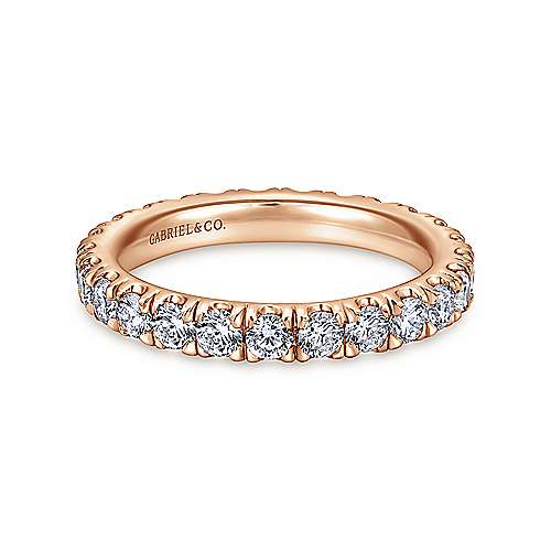 Gabriel - 14k Rose Gold French Pavé Set Eternity Band