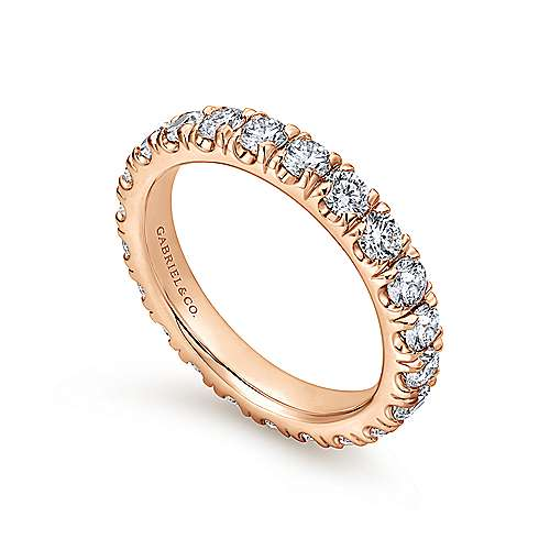 14k Rose Gold French Pavé Set Eternity Band
