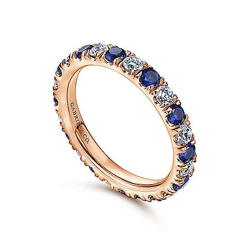 14k Rose Gold French pave Set A Quality Sapphire and Diamond Eternity Band