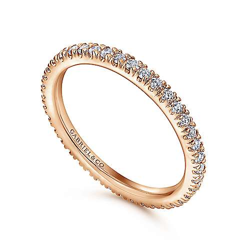 14k Rose Gold French pave Set Eternity Band