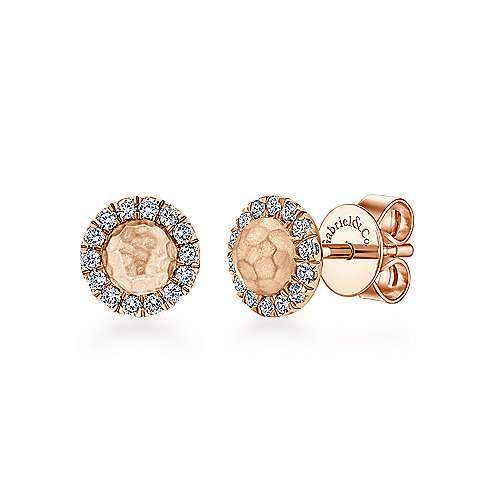 14k Rose Gold Hammered Diamond Halo Stud Earrings