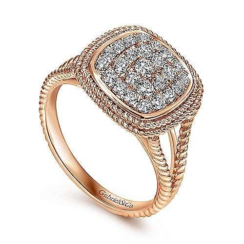 14k Rose Gold Hampton Fashion Ladies' Ring angle 3