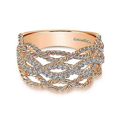 14k Rose Gold Hampton Wide Band Ladies' Ring angle 1