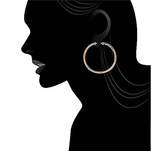 14k Rose Gold Hoops Classic Hoop Earrings angle 4