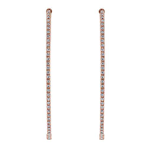14k Rose Gold Hoops Classic Hoop Earrings angle 3