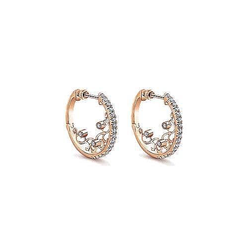 14k Rose Gold Hoops Intricate Hoop Earrings angle 1