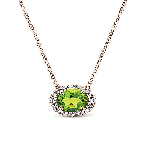 14k Rose Gold Horizontal Oval Peridot Diamond Halo Fashion Necklace
