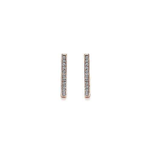14k Rose Gold Huggies Huggie Earrings angle 3