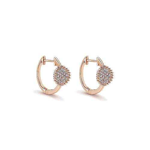 14k Rose Gold Huggies Huggie Earrings angle 1
