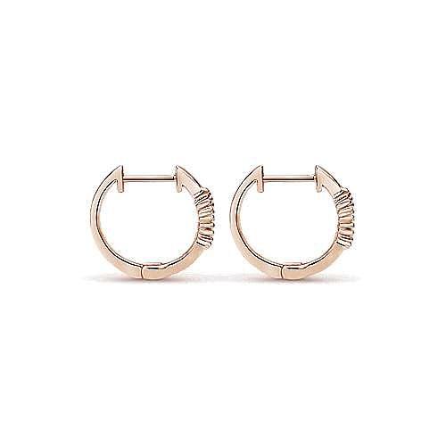 14k Rose Gold Huggies Huggie Earrings angle 2
