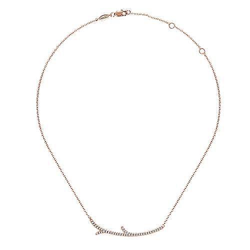 14k Rose Gold Indulgence Bar Necklace angle 2