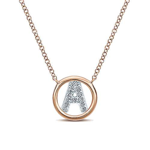 Gabriel - 14k Rose Gold Initial Necklace