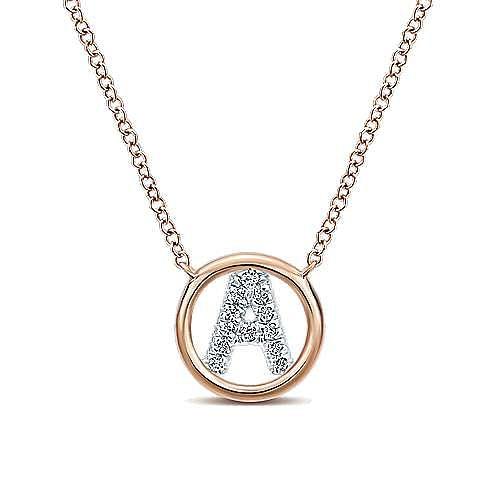 Gabriel - 14k Rose Gold Initial Necklace