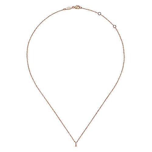 14k Rose Gold Initial Necklace angle 2