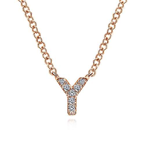 14k Rose Gold Initial Necklace angle 1