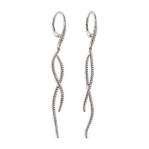 14k Rose Gold Kaslique Drop Earrings angle 2