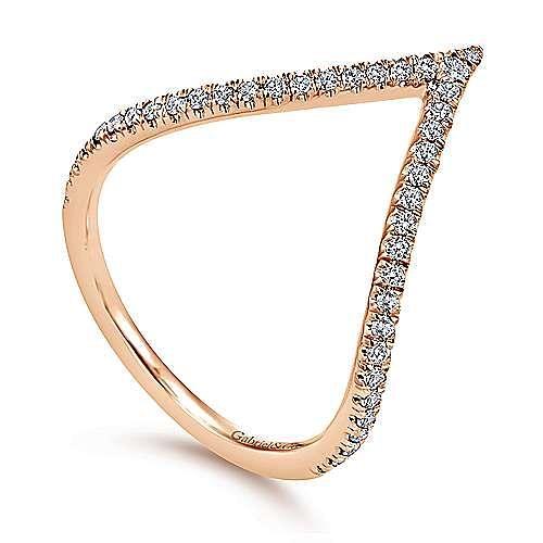 14k Rose Gold Kaslique Fashion Ladies' Ring angle 3