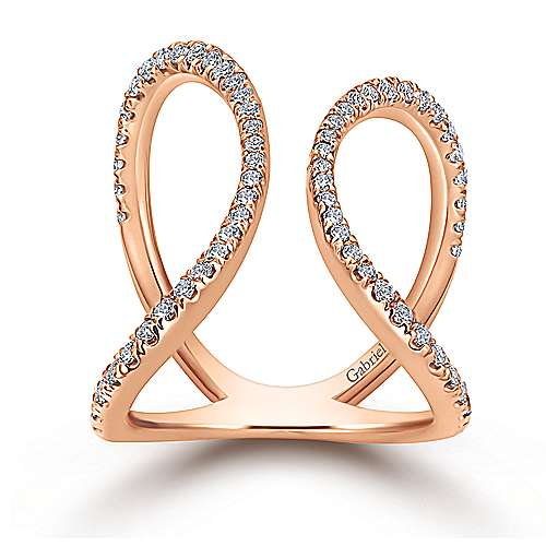 14k Rose Gold Kaslique Fashion Ladies' Ring angle 4