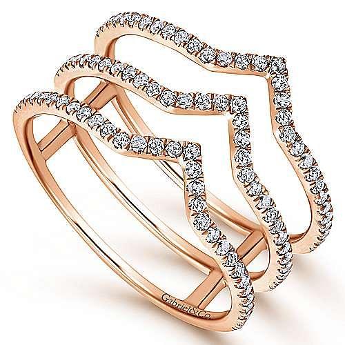 14k Rose Gold Kaslique Wide Band Ladies' Ring angle 3