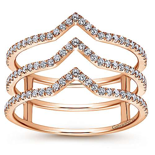 14k Rose Gold Kaslique Wide Band Ladies' Ring angle 4