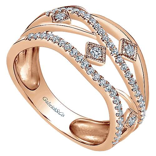 14k Rose Gold Layered Openwork Diamond Ring