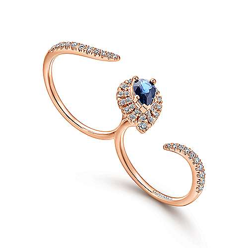14k Rose Gold Lusso Color Double Ring Ladies' Ring angle 3