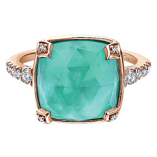 14k Rose Gold Lusso Color Fashion Ladies' Ring angle 1