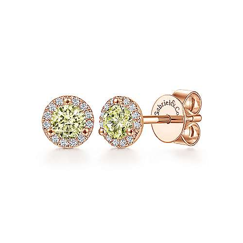 14k Rose Gold Lusso Color Stud Earrings angle 1