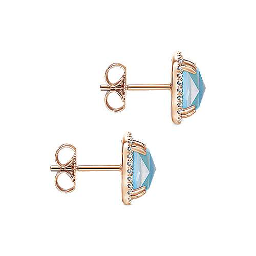 14k Rose Gold Lusso Color Stud Earrings angle 3