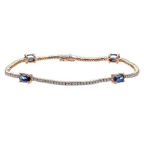 14k Rose Gold Lusso Color Tennis Bracelet angle 1