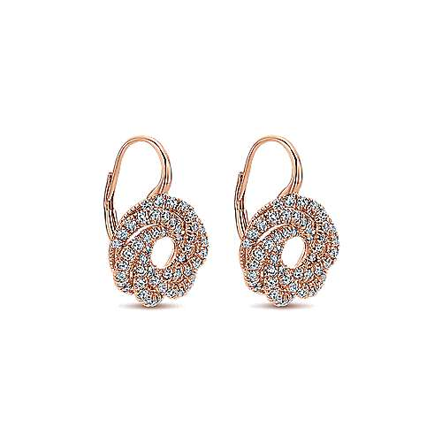 14k Rose Gold Lusso Diamond Drop Earrings angle 2