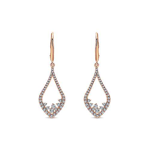 Gabriel - 14k Rose Gold Lusso Diamond Drop Earrings